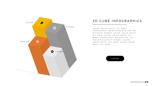 3D CUBE Infographic Elements for PowerPoint Slide 1