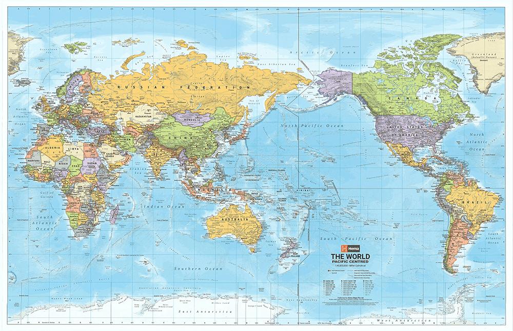 Gambar peta dunia berwarna tiap negara ukuran besar