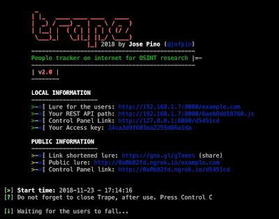شرح أداة Trape البحث تعقب الأشخاص على الإنترنت