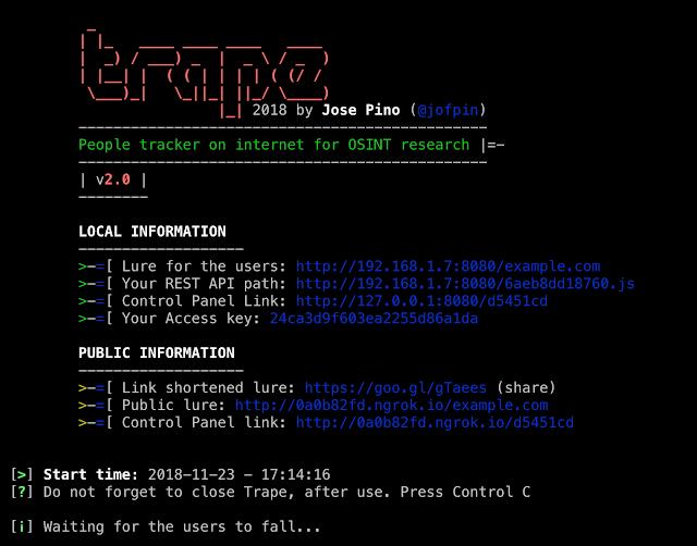 أداة تحليل وأبحاث تابعة لـ OSINT  trape