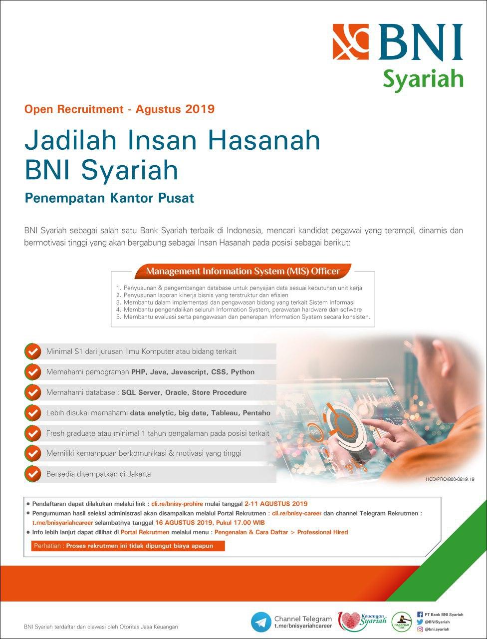 Lowongan Kerja Management Information System Officer Bank BNI Syariah