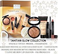 Tahitian Glow set champagne primer body bronze frosting fig prosecco dew lip crayon Laura mascara