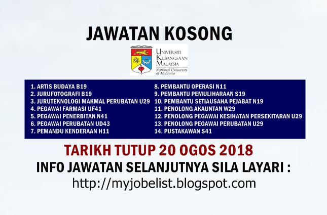 Jawatan Kosong di Universiti Kebangsaan Malaysia (UKM) Ogos 2018