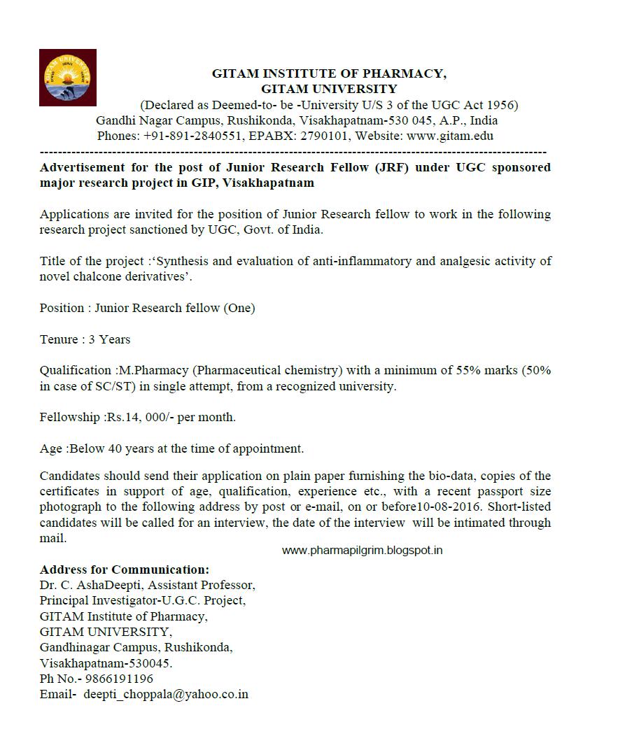 Vacancy For: Jrf At Gitam University, Visakhapatnam