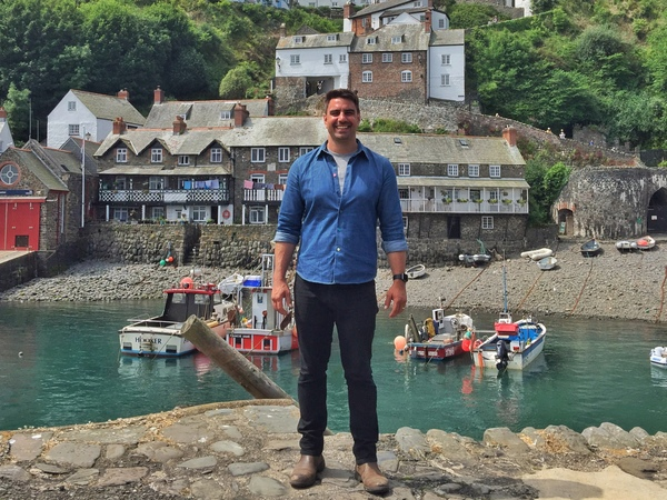 BBC Bloom Presenter Chris Bavin in Clovelly Harbour. Photo copyright Ellie Jarvis (All Rights Reserved)