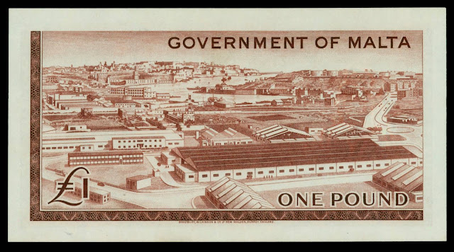 Malta money currency 1 Pound banknote 1949