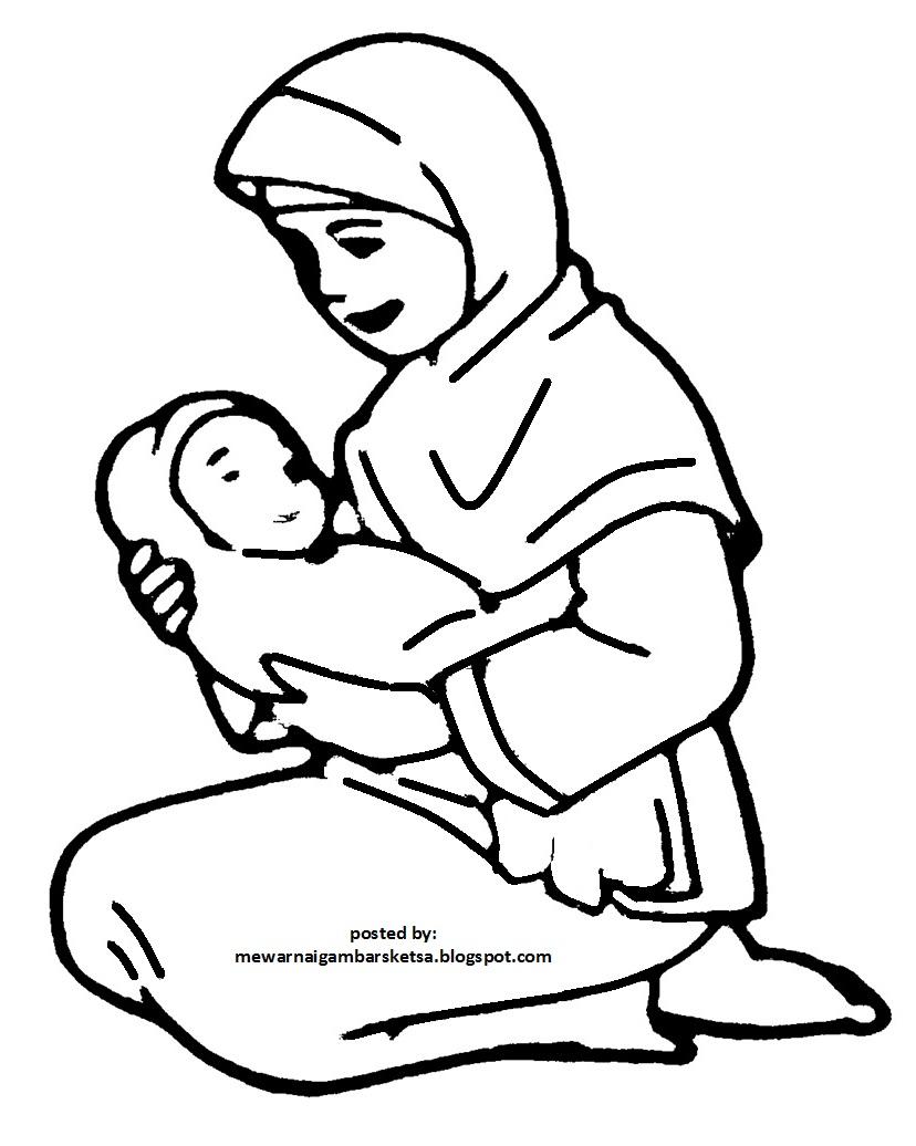 8200 Gambar Kartun Muslimah Gendong Bayi Terbaru