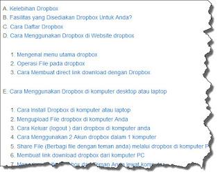 contoh daftar link daftar isi
