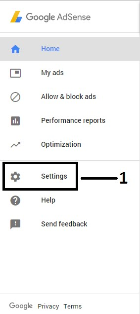 """Simply go to your google adsense account and click """"Settings"""" on the sidebar."""