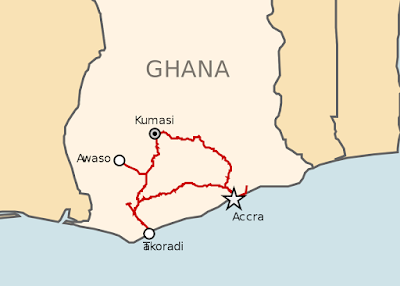 how far is it from accra to kumasi on land and on air