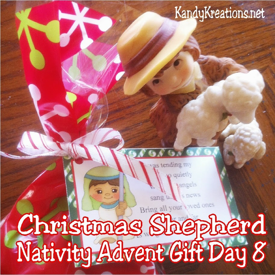 Celebrate with the Christmas shepherd as you count down to Christmas with this Nativity advent gift idea.  Give a nativity character and sweet treat each day to help bring a little Christ into Christmas. Day 8 is the last of the Christmas shepherds and his chocolate sheep patties Christmas candy.