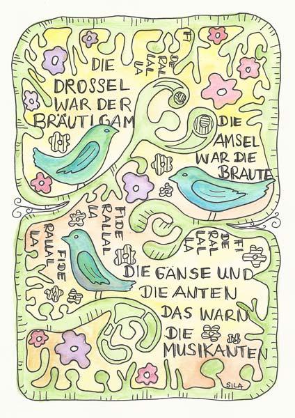 Illustration mit Wasserfarben, Vögel im Baum mit Liedtext