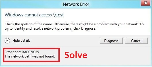 Error Code: 0x80070035. The Network Path Was Not Found Solve