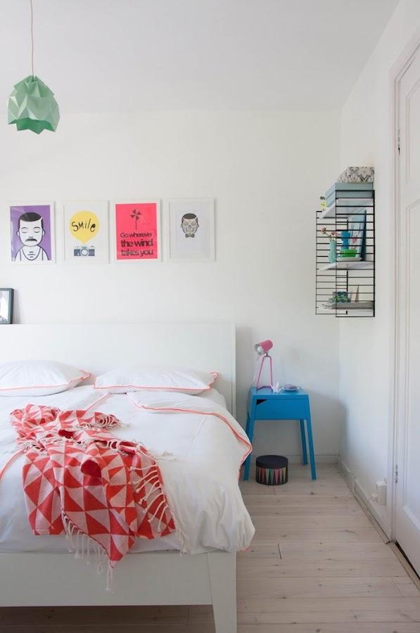 dormitorio en colores pastel