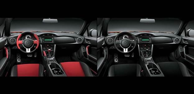 Nội thất Toyota FT 86 (trái) và Syvaru BRZ (phải) khá giống nhau