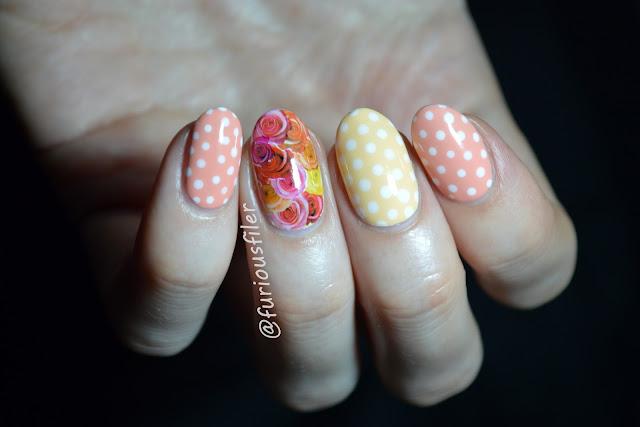 peachella peach yellow roses water decals dots