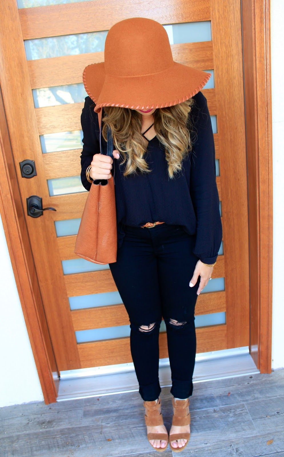 cognac and black outfit