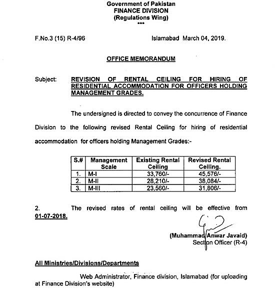 REVISION OF RENTAL CEILING FOR HIRING OF RESIDENTIAL ACCOMMODATION FOR OFFICERS