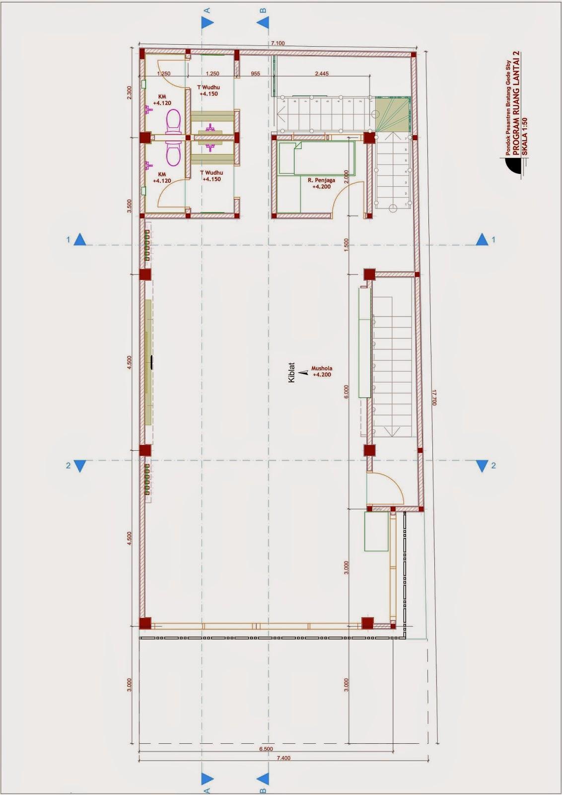 Desain Rumah Minimalis Jadi Pesantren - Denah Lt 2