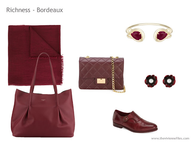 Adding Accessories to a Capsule Wardrobe in 13 color families - bordeaux