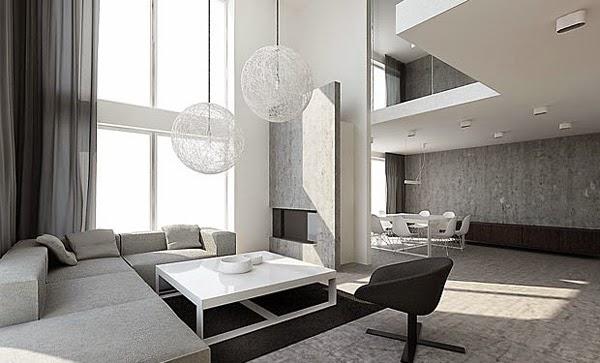 sala en gris y blanco