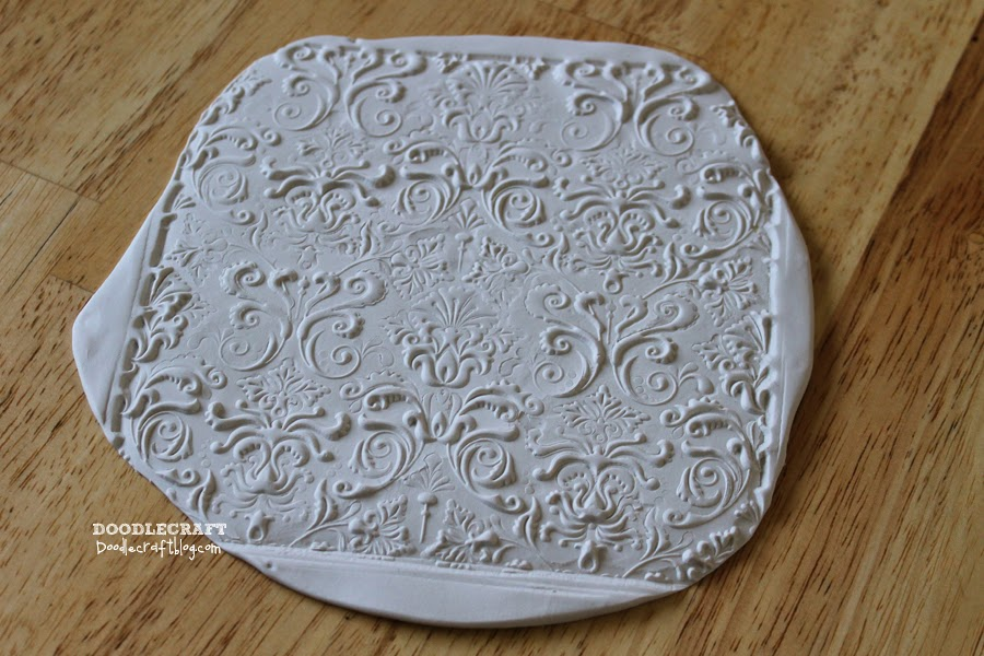 Doodlecraft Damask Polymer Clay Jewelry Dishes