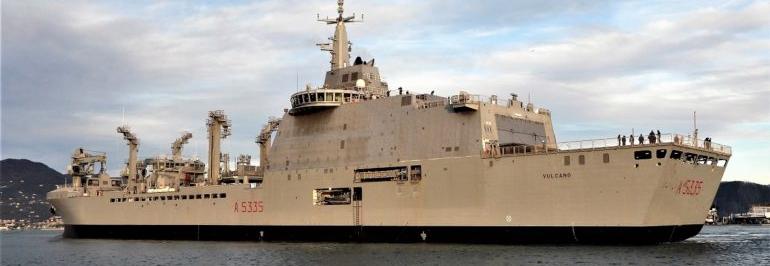 Італія почала випробування новітнього судна забезпечення A5335 Vulcano
