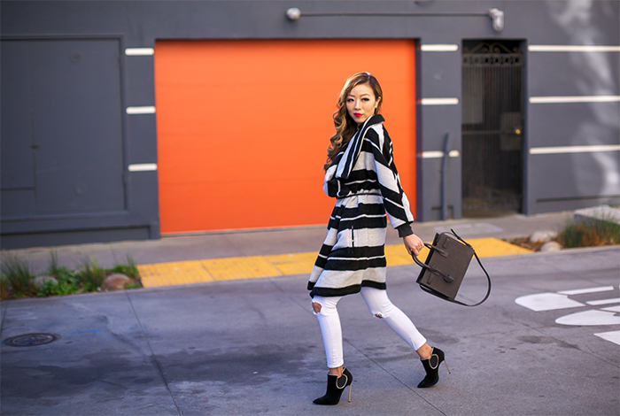BB Dakota Kendall Striped Coat, saint laurent baby sac de jour Croc Embossed Leather Tote, ripped white jeans, casadei ankle booties, baublebar velvet choker, san francisco street style, san francisco style blog, holiday outfit ideas