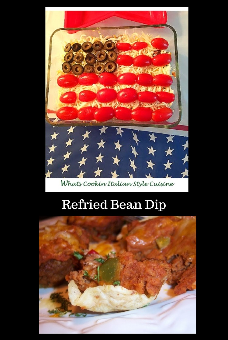 This is a festive hot bean dip made into a flag with olives, tomatoes, refried beans, loads of melted cheese, sour cream and hamburger