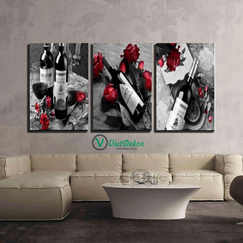 Tranh treo tường bộ 3 rượu vang