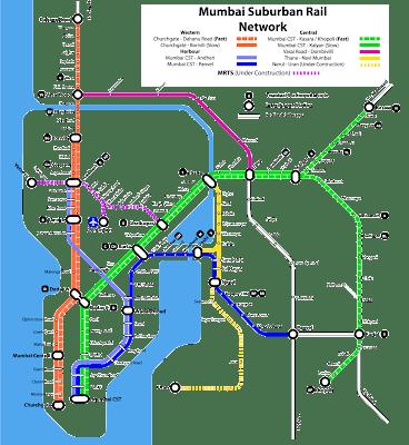 mumbai local map, indian railway
