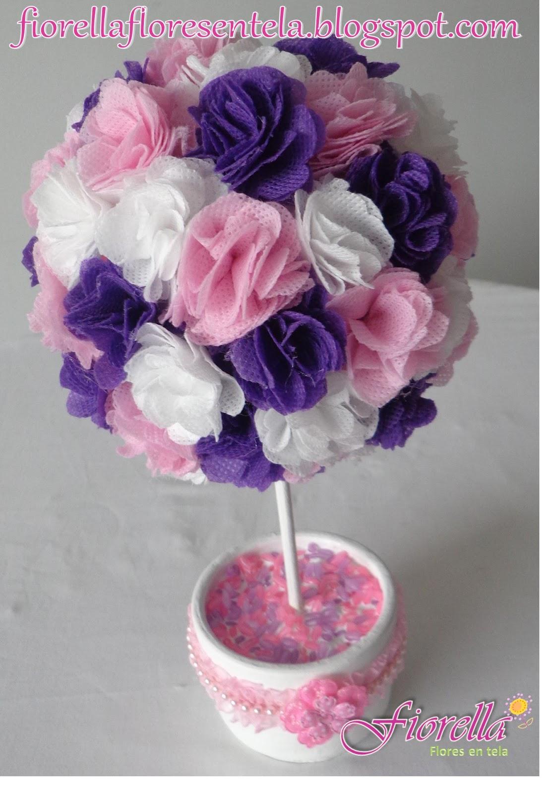 Fiorella flores en tela topiario para comuni n - Manualidades para comunion ...