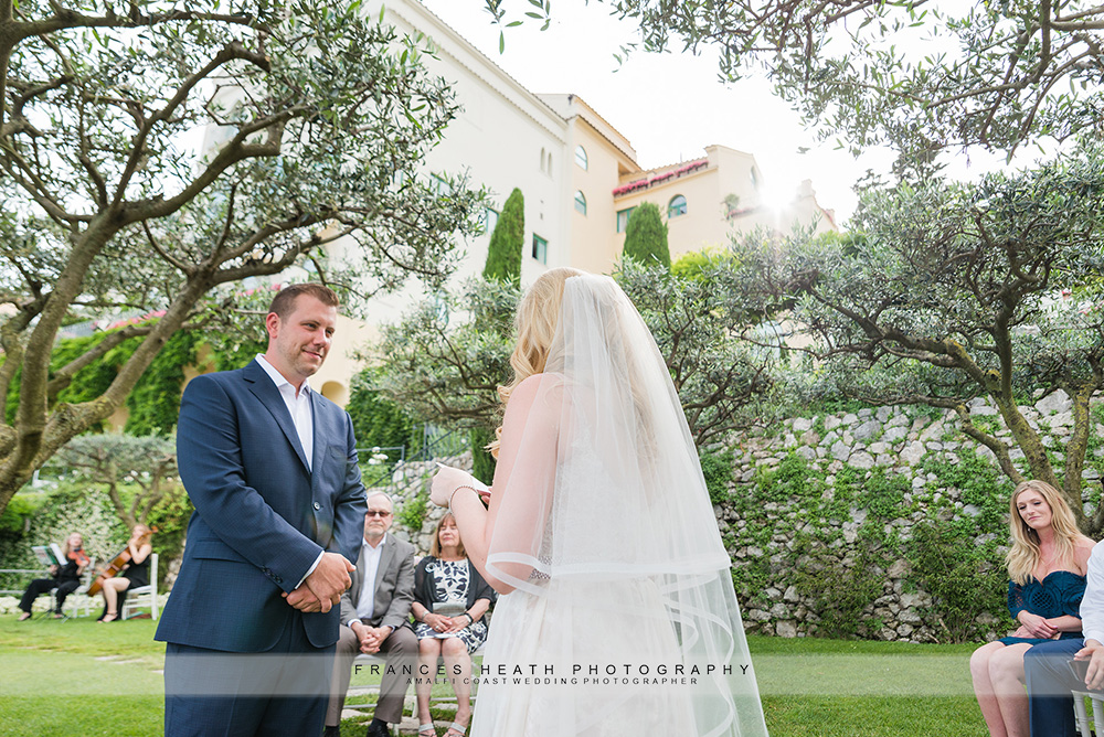 Garden wedding ceremony at hotel Caruso