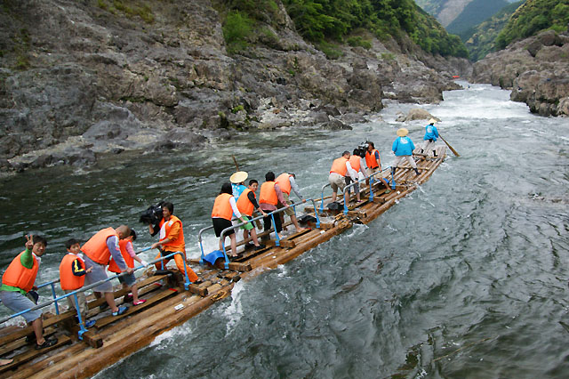'Timber' rafting on Kitayama River, Kitayama village, Wakayama Pref.