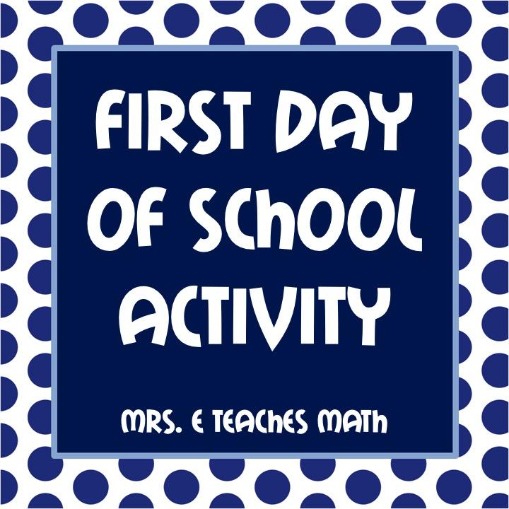 First Day of School Activities | Mrs  E Teaches Math