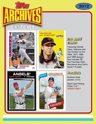 Bdj610s Topps Baseball Card Blog 2012 Topps Archives Sell Sheets