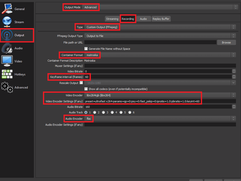 OBS Studio settings for best quality (loseless) recording