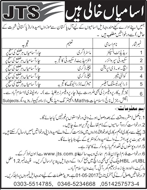 Jobs Available in Job Testing Services in Pakistan Last Date 01-05-2017