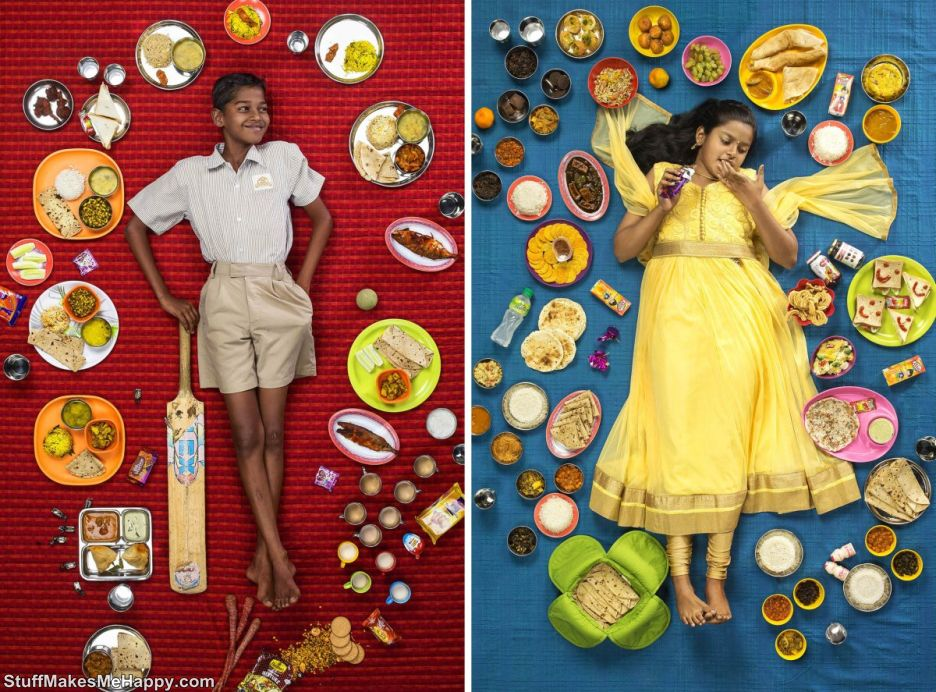 The Photographer Created A Social Project, In Which He Showed How The Weekly Diet Of Children From Different Countries Looks In One Frame