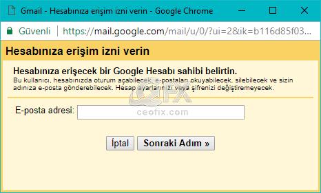 gmail hesabınıza erişim izni verin