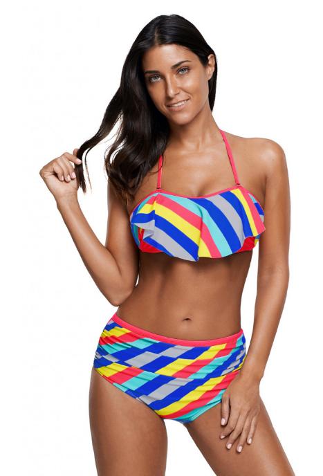 Costum de baie cu imprimeu multicolor din 2 piese