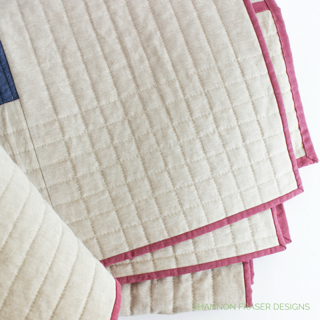 Modern Straight Line Quilting | Quilting Designs | Shannon Fraser Designs | Essex Linen | Raspberry Shot Cotton Kaffe Fasset | Modern Quilting