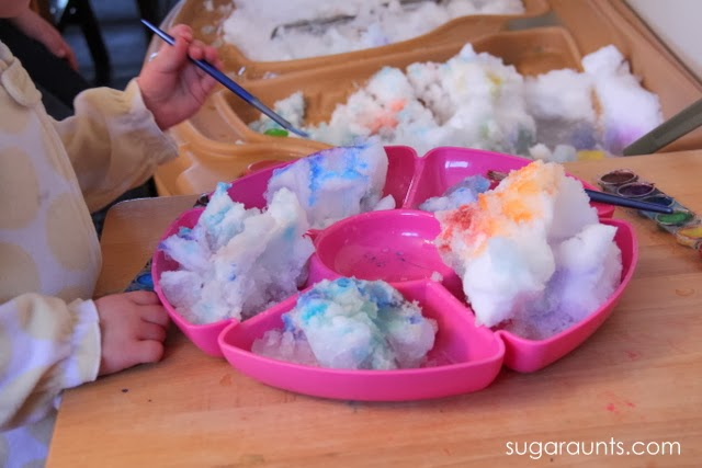 Kids love to paint snow with watercolors!