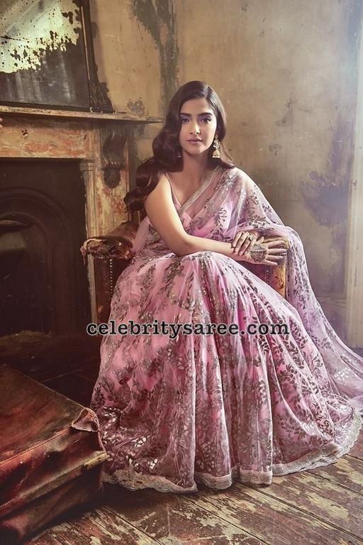 Sonam Kapoor in Baby Pink Floral Saree