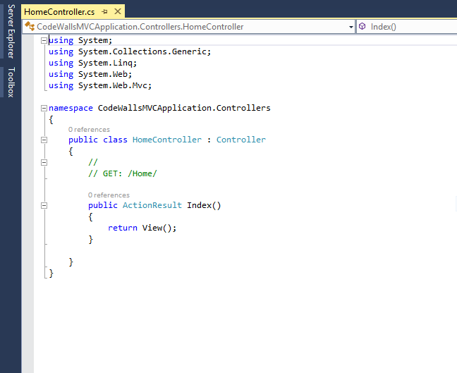 Controller code view in MVC