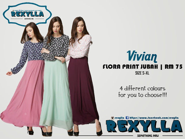 rexylla, flora print, printed jubah, vivian collection