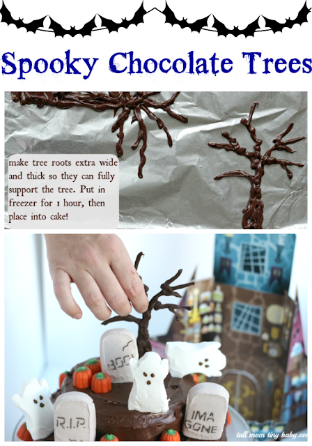 How to make spooky chocolate trees for a haunted halloween graveyard cake with peeps