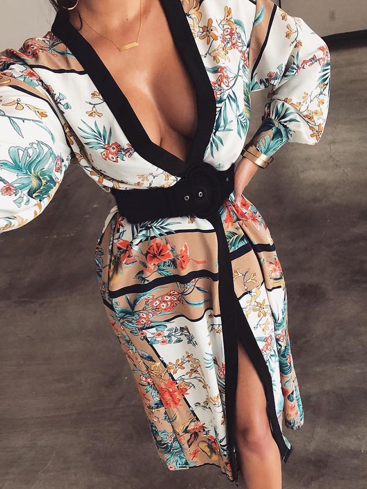 Floral Print Binding Puff Sleeve Shirt Dress