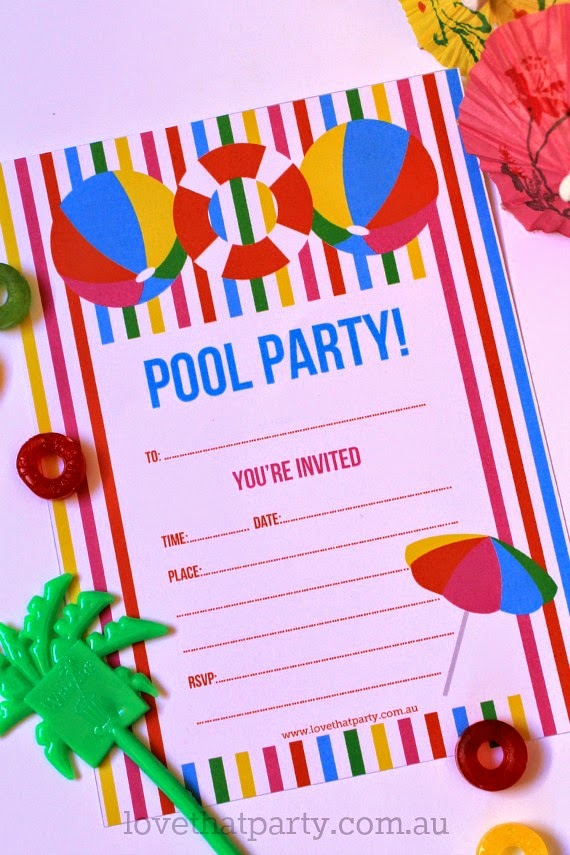 Free printable Summer Pool Party Invitation! By Love That Party Makes me want to start planning a pool party right now! www.lovethatparty.com.au