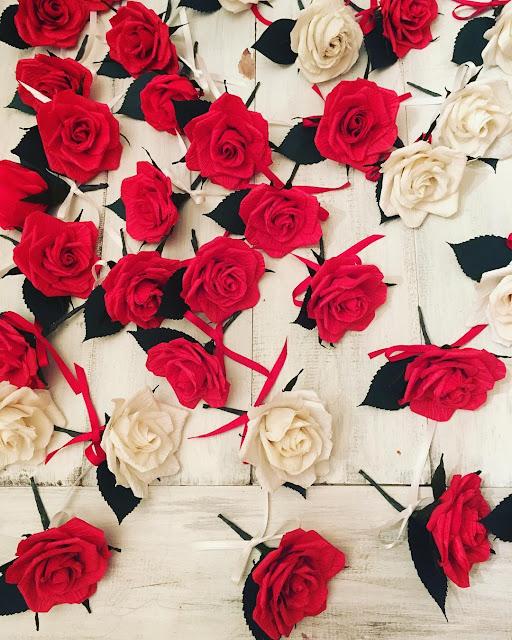 paper-roses in crepe paper